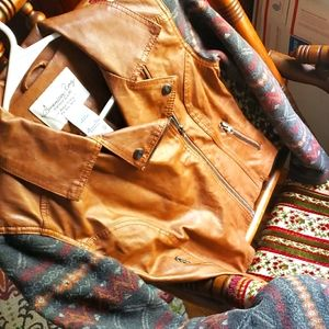 American Rag faux leather boho moto jacket asymmetrical brown